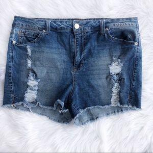 Forever 21 plus 18 denim jean shorts distressed